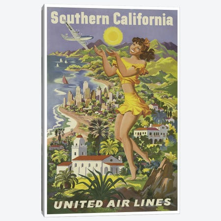 Southern California - United Airlines Canvas Print #LIV317} by Unknown Artist Canvas Art Print