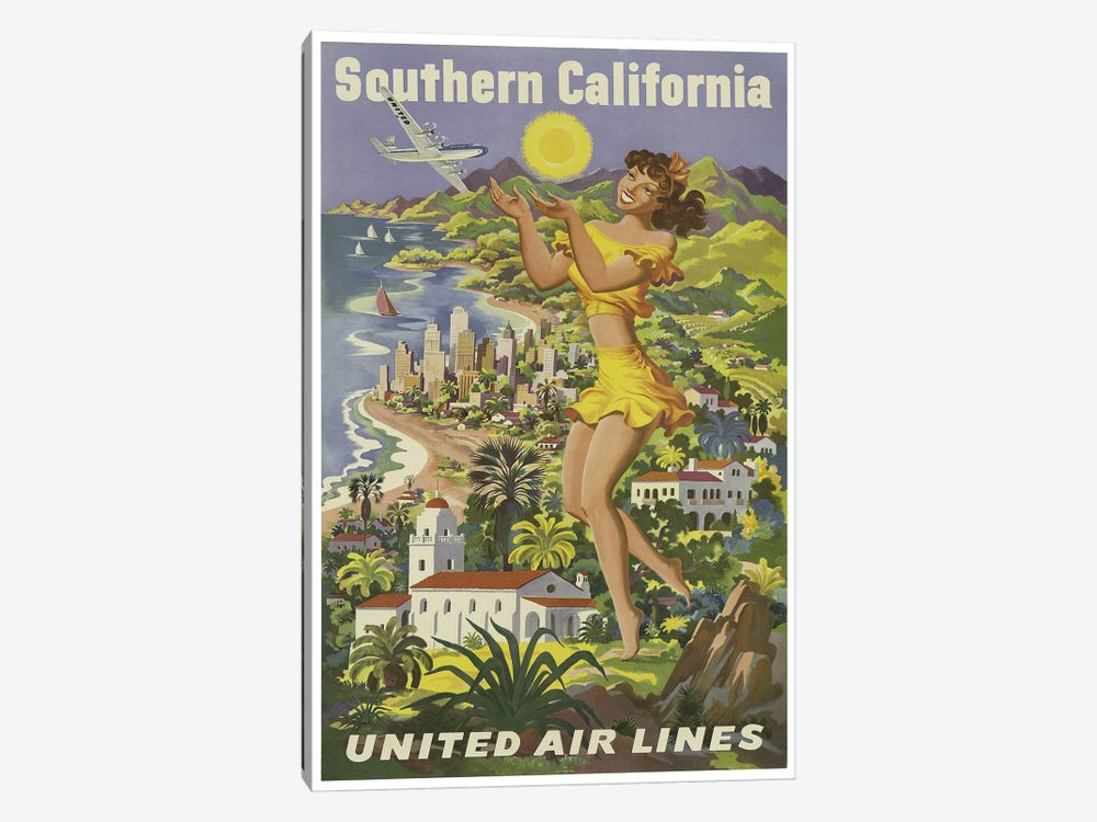 Southern California - United Airlines by Unknown Artist 1-piece Art Print