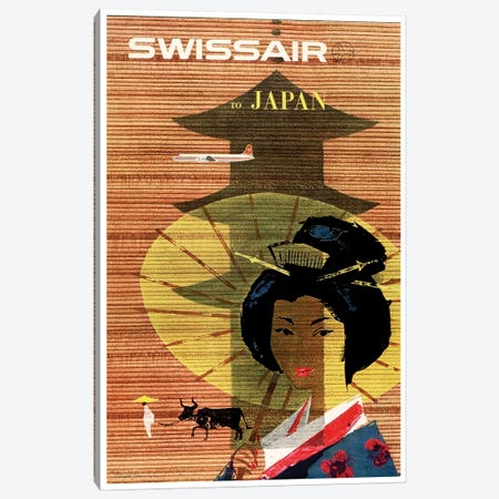 Swissair To Japan Canvas Print #LIV328} by Unknown Artist Canvas Print