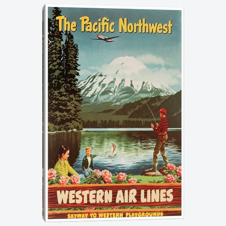 The Pacific Northwest - Western Airlines, Skyway To Western Playgrounds Canvas Print #LIV335} Art Print