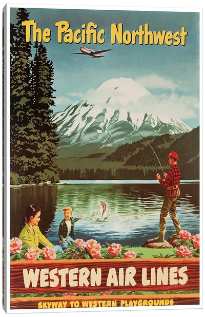 The Pacific Northwest - Western Airlines, Skyway To Western Playgrounds Canvas Print #LIV335