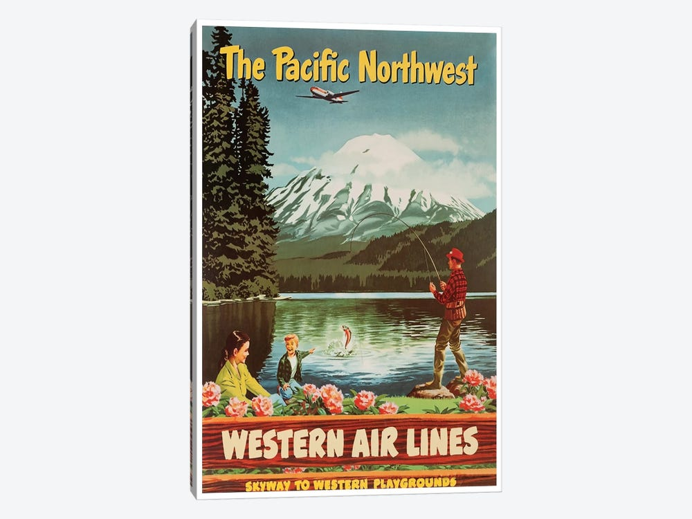 The Pacific Northwest - Western Airlines, Skyway To Western Playgrounds by Unknown Artist 1-piece Art Print