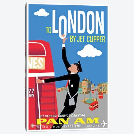 To London By Jet Clipper - Pan Am 3-Piece Canvas #LIV336} by Unknown Artist Art Print