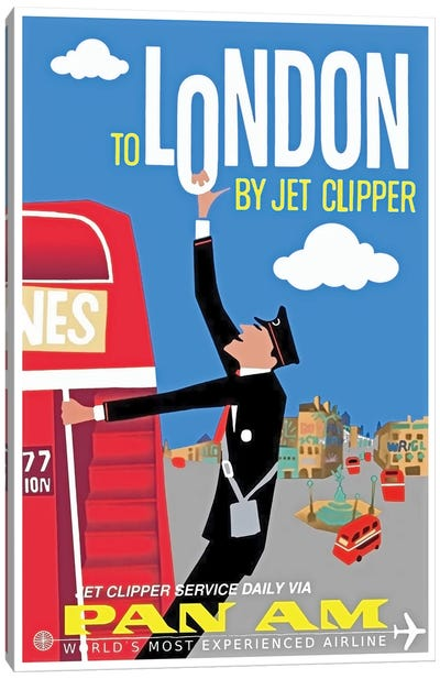 To London By Jet Clipper - Pan Am Canvas Art Print