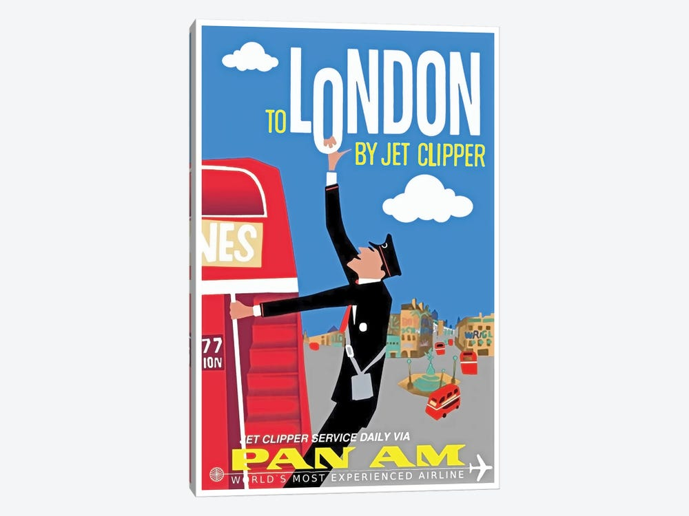 To London By Jet Clipper - Pan Am by Unknown Artist 1-piece Canvas Art