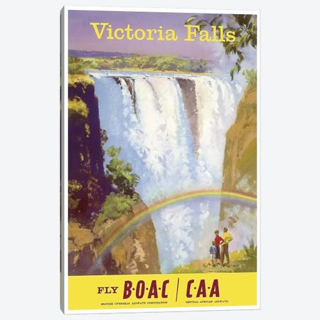 Victoria Falls - Fly BOAC/CAA Canvas Print #LIV342} by Unknown Artist Art Print