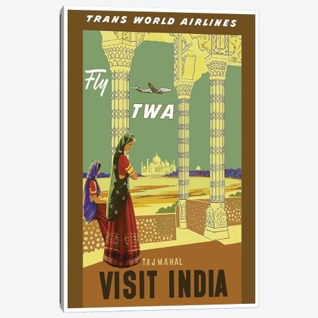 Visit India - Fly TWA Canvas Print #LIV349} by Unknown Artist Art Print