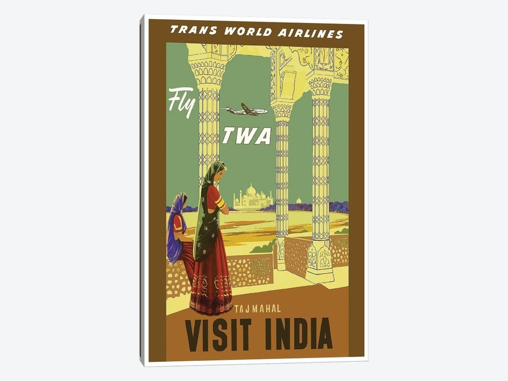 Visit India - Fly TWA by Unknown Artist 1-piece Canvas Wall Art