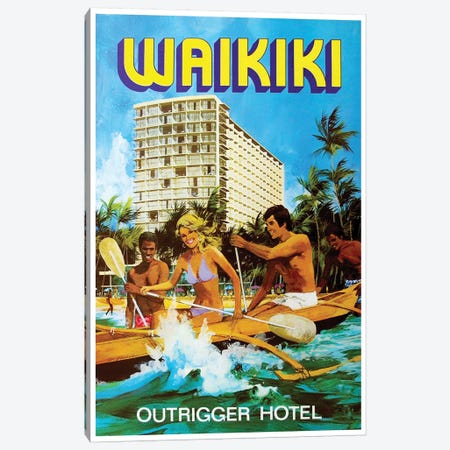 Waikiki - Outrigger Hotel Canvas Print #LIV359} by Unknown Artist Canvas Artwork