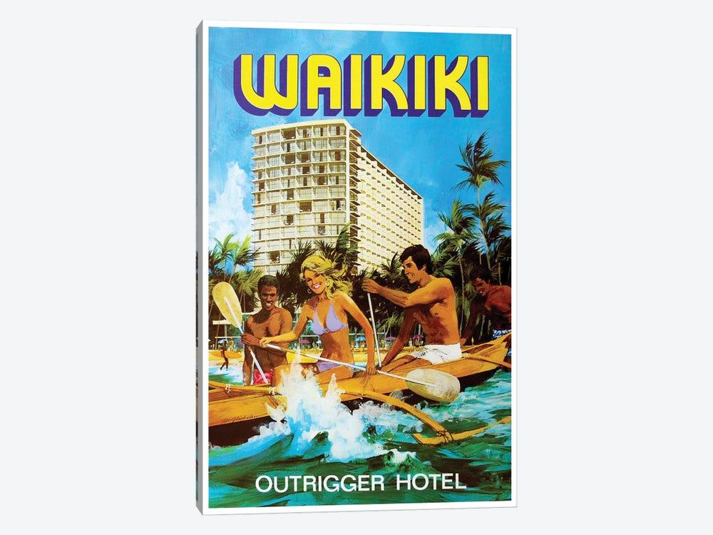 Waikiki - Outrigger Hotel by Unknown Artist 1-piece Canvas Print