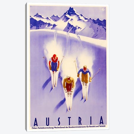 Austria: Skiing Canvas Print #LIV35} by Unknown Artist Canvas Art