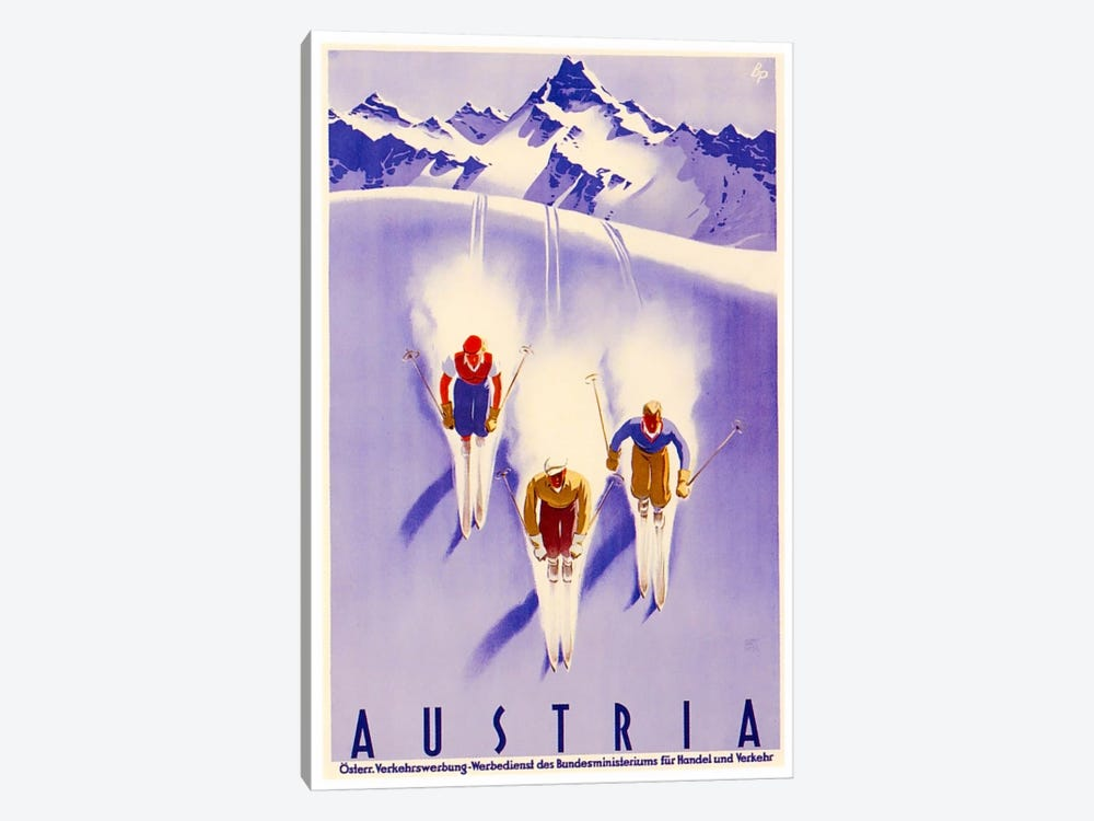 Austria: Skiing by Unknown Artist 1-piece Canvas Art