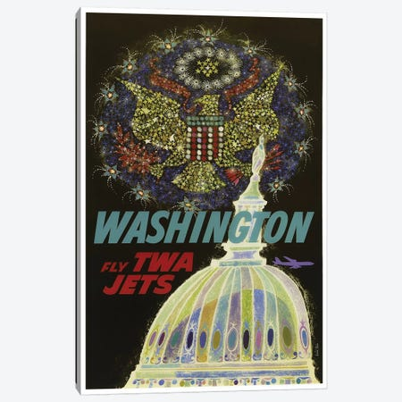 Washington - Fly TWA Canvas Print #LIV360} by Unknown Artist Art Print