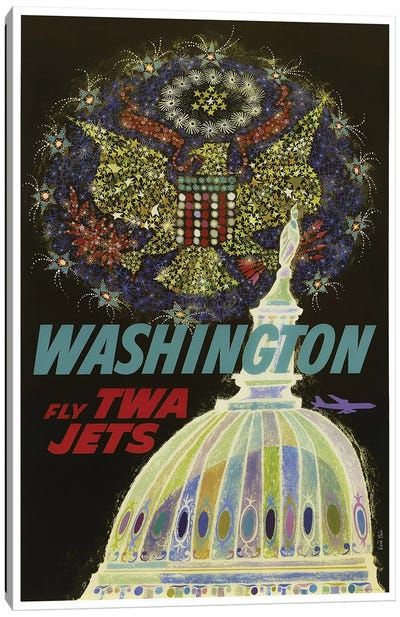 Washington - Fly TWA Canvas Print #LIV360
