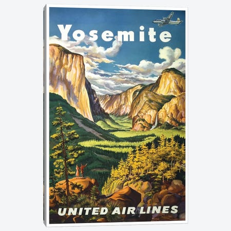 Yosemite National Park - United Airlines Canvas Print #LIV369} by Unknown Artist Canvas Art Print
