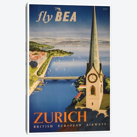 Zurich - Fly BEA, British European Airways Canvas Print #LIV374} by Unknown Artist Art Print
