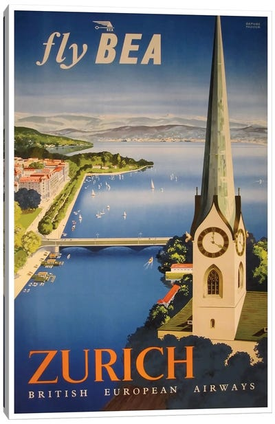 Zurich - Fly BEA, British European Airways Canvas Art Print