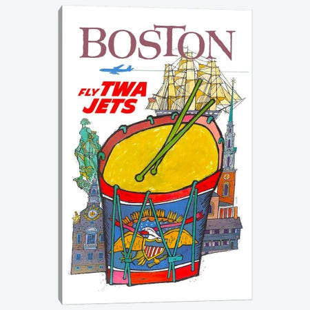 Boston - Fly TWA Canvas Print #LIV45} Canvas Art Print