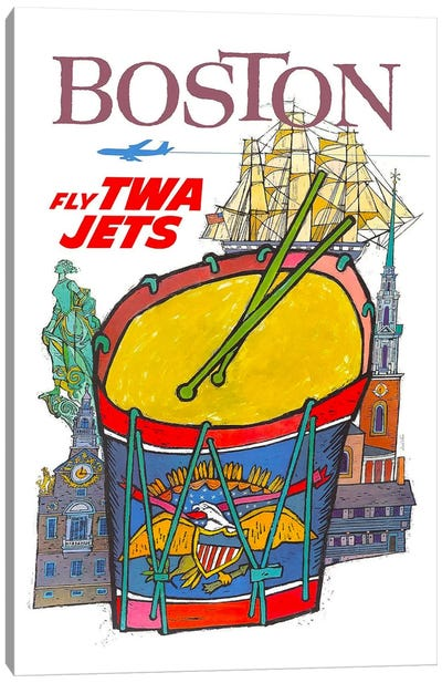 Boston - Fly TWA Canvas Art Print
