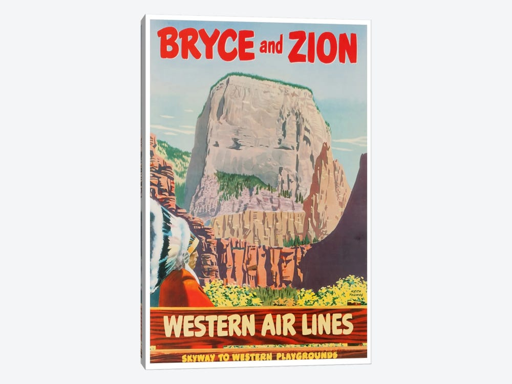 Bryce And Zion - Western Air Lines, Skyway To Western Playgrounds by Unknown Artist 1-piece Canvas Artwork