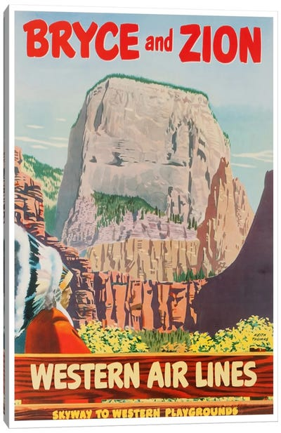 Bryce And Zion - Western Air Lines, Skyway To Western Playgrounds Canvas Art Print