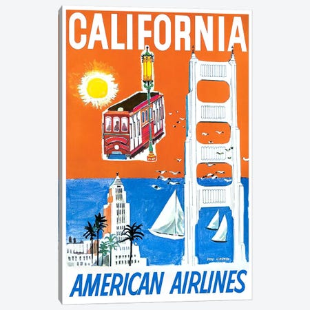California - American Airlines Canvas Print #LIV48} by Unknown Artist Canvas Artwork