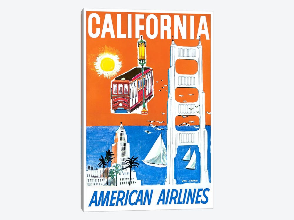 California - American Airlines by Unknown Artist 1-piece Canvas Art