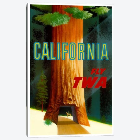 California - Fly TWA Canvas Print #LIV49} by Unknown Artist Canvas Art