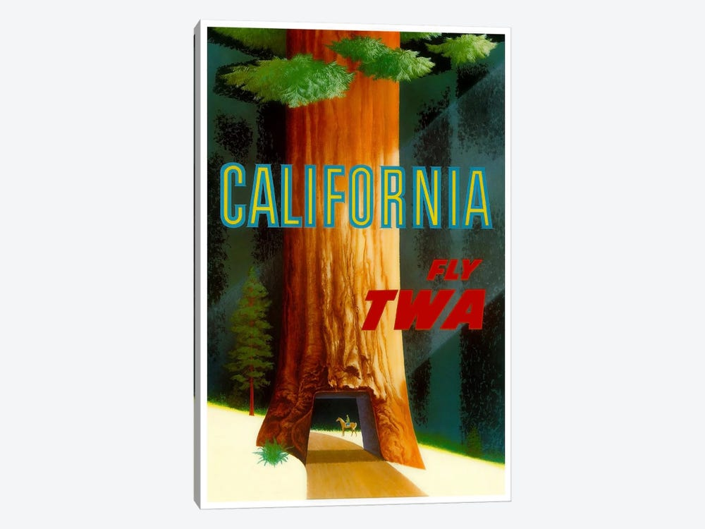 California - Fly TWA by Unknown Artist 1-piece Canvas Print