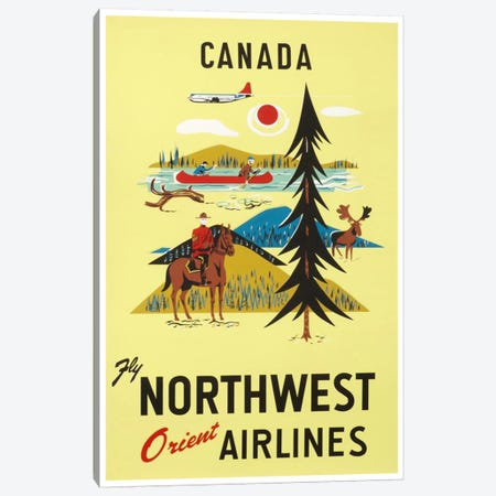Canada - Fly Northwest Orient Airlines 3-Piece Canvas #LIV51} by Unknown Artist Canvas Print