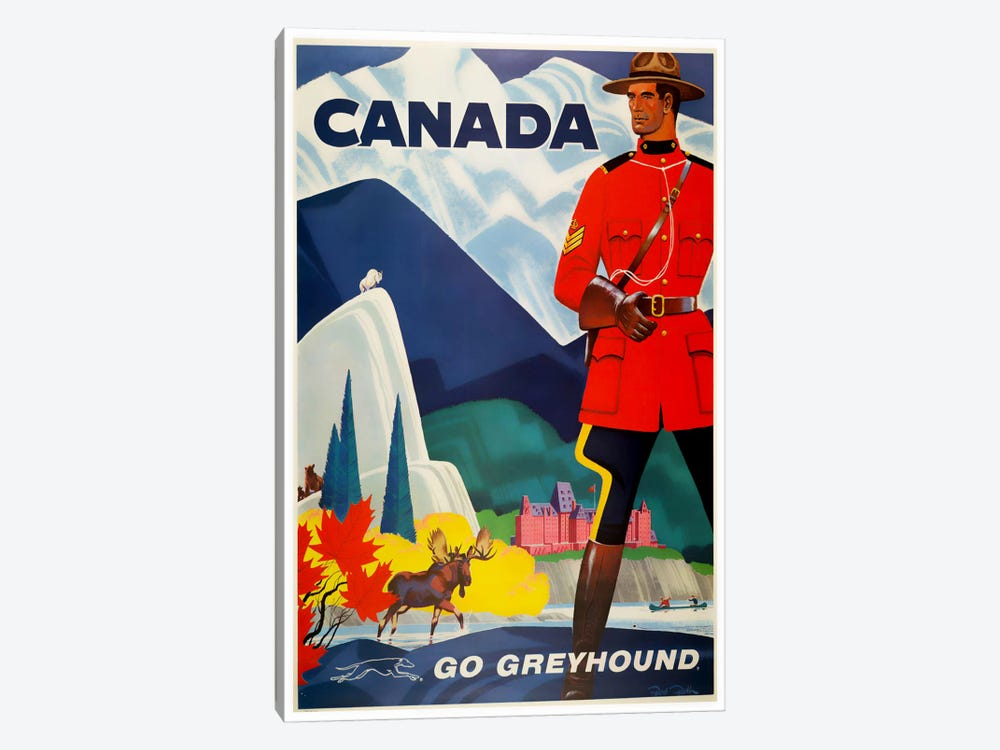 Canada - Go Greyhound 1-piece Canvas Art Print