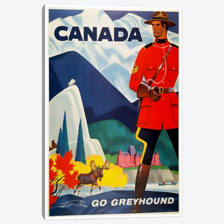 Canada - Go Greyhound 3-Piece Canvas #LIV52} by Unknown Artist Art Print