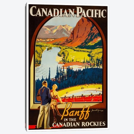 Canadian Pacific: Banff In The Canadian Rockies 3-Piece Canvas #LIV53} by Unknown Artist Canvas Art Print