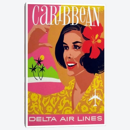 Caribbean - Delta Air Lines Canvas Print #LIV54} by Unknown Artist Canvas Artwork