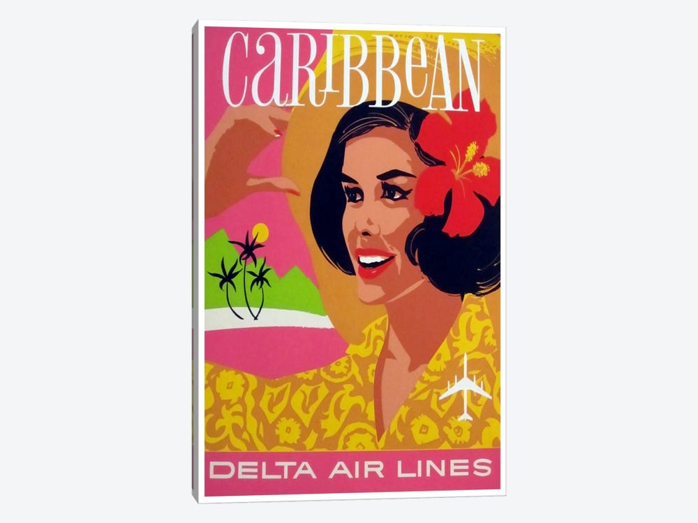 Caribbean - Delta Air Lines by Unknown Artist 1-piece Art Print
