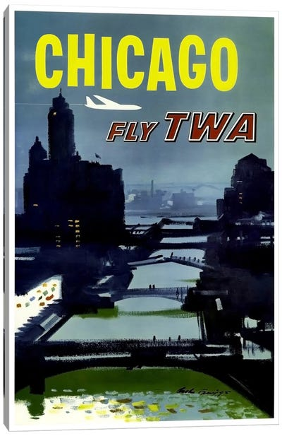 Chicago - Fly TWA Canvas Art Print