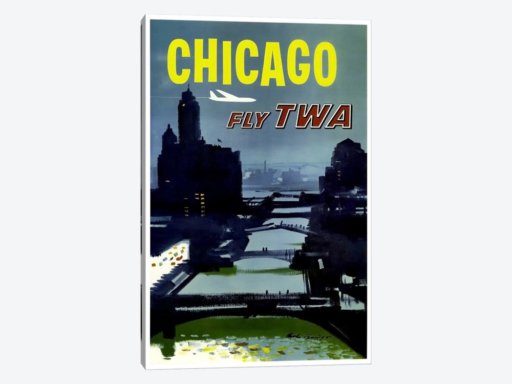 Chicago - Fly TWA 1-piece Canvas Wall Art
