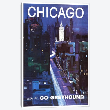 Chicago - Go Greyhound Canvas Print #LIV60} by Unknown Artist Canvas Wall Art
