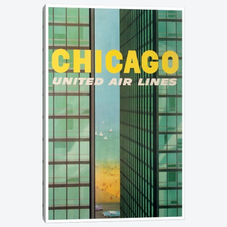 Chicago - United Airlines Canvas Print #LIV61} by Unknown Artist Canvas Artwork