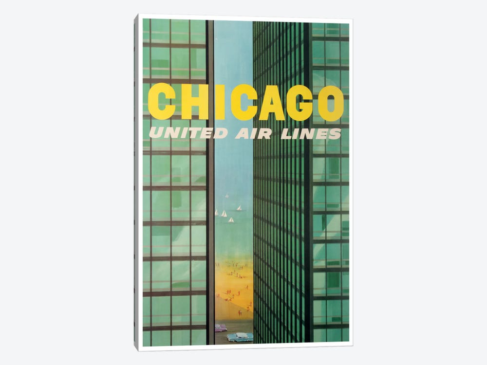 Chicago - United Airlines by Unknown Artist 1-piece Art Print