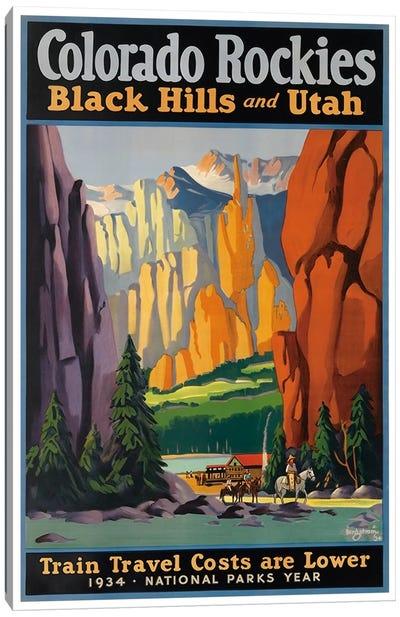 Colorado Rockies - Black Hills And Utah: National Parks Year, 1934 Canvas Print #LIV63