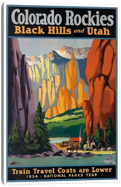 Colorado Rockies - Black Hills And Utah: National Parks Year, 1934 Canvas Art Print