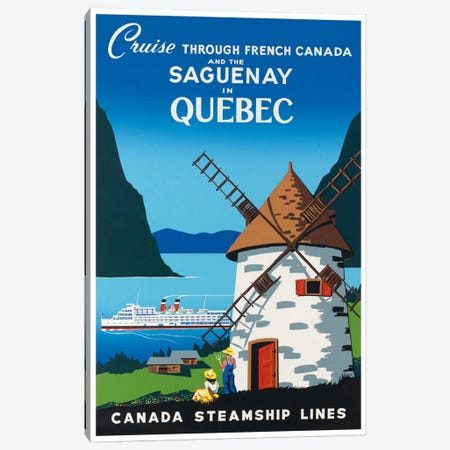Cruise Through French Canada And The Saguenay In Quebec - Canada Steamship Lines Canvas Print #LIV67} by Unknown Artist Canvas Print