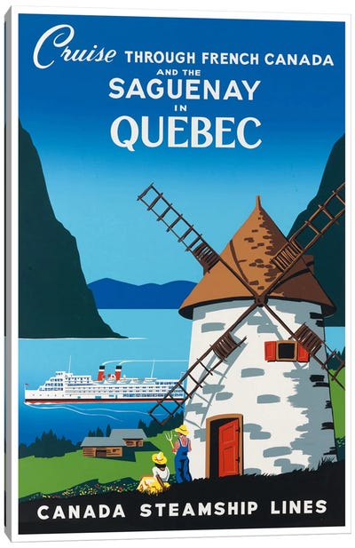 Cruise Through French Canada And The Saguenay In Quebec - Canada Steamship Lines Canvas Art Print