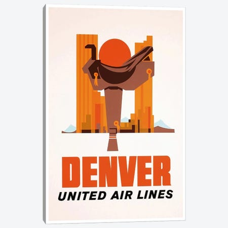 Denver - United Airlines Canvas Print #LIV75} by Unknown Artist Canvas Wall Art