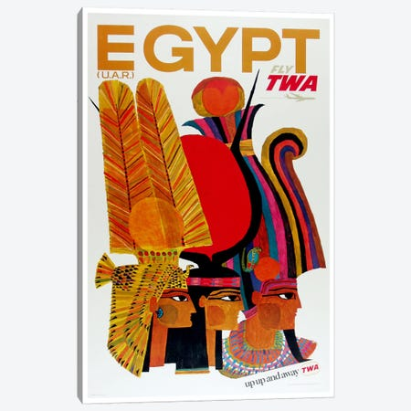 Egypt - Fly TWA 3-Piece Canvas #LIV79} by Unknown Artist Art Print