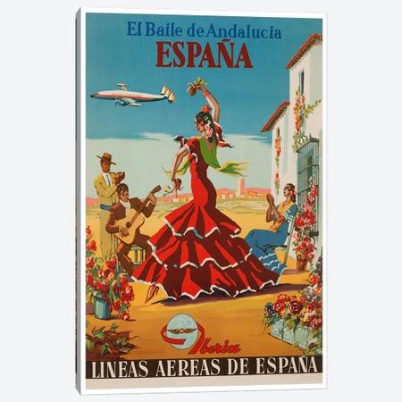 El Baile de Andalucia, Espana - Lineas Aereas de Espana Canvas Print #LIV85} by Unknown Artist Canvas Print
