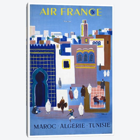 Air France - Morocco, Algeria, Tunisia Canvas Print #LIV8} by Unknown Artist Canvas Art Print