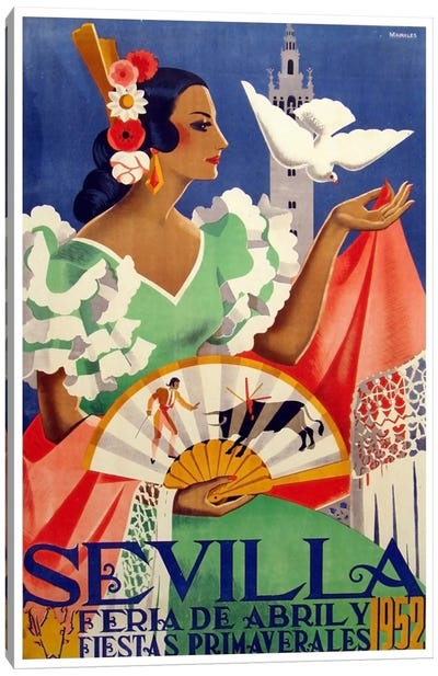 Feria de Sevilla, Abril de 1952 Canvas Art Print