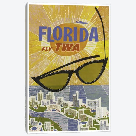 Florida - Fly TWA Canvas Print #LIV94} by Unknown Artist Canvas Wall Art